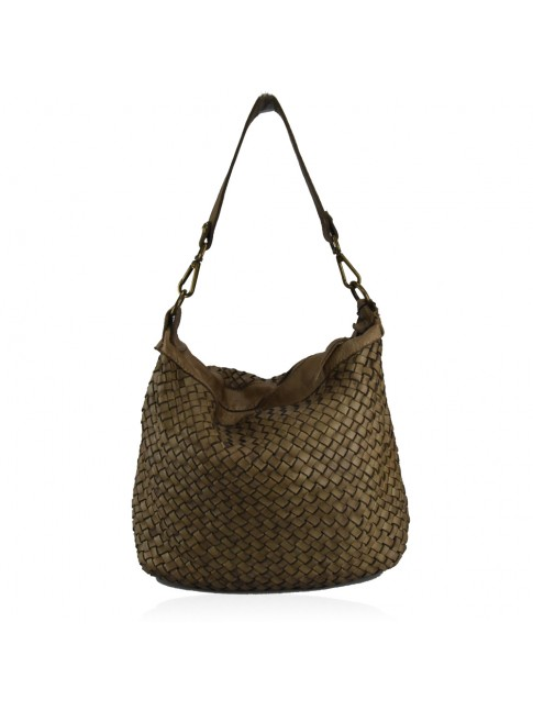 borsa shopping piccola  in pelle intrecciata