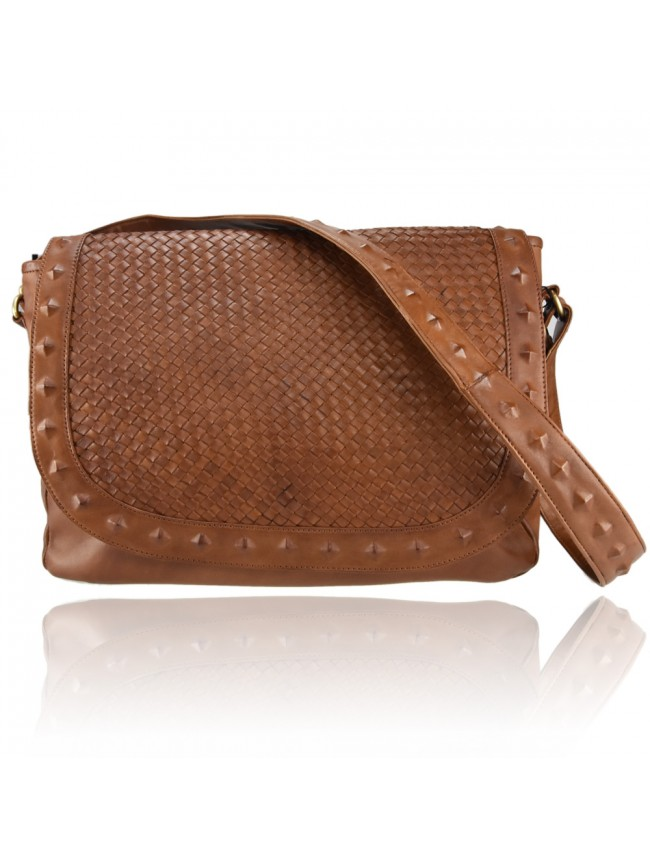 Woman washed leather embossed bag