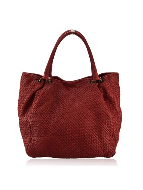 Woman washed woven leather bag