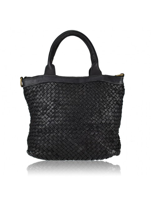 Little shopping woven leather bag
