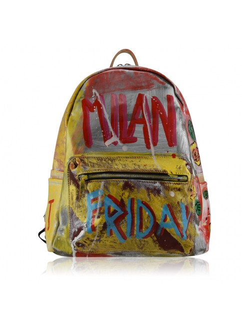 Leather backpack with hand painting