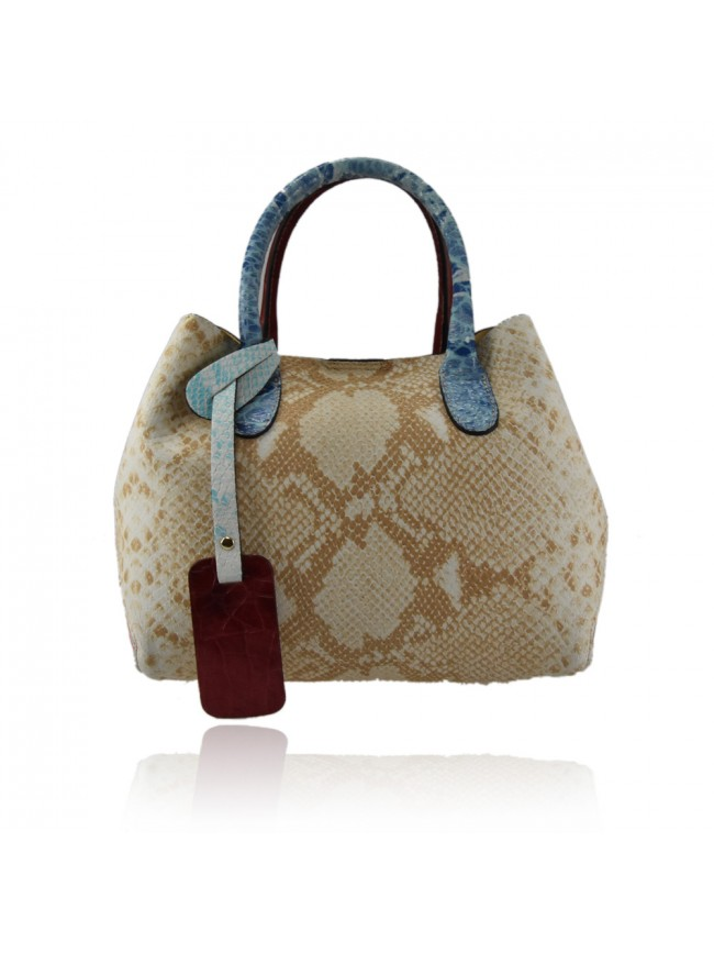 Leather bag with patchwork