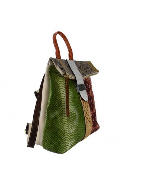 Leather back bag with patchwork