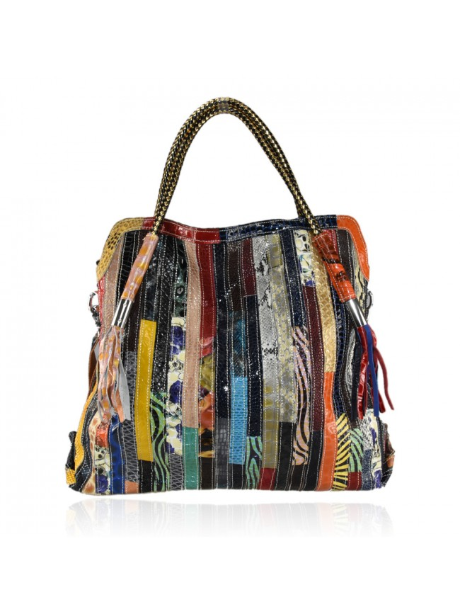 Leather bag with patchwork - Mercury Bags Boutique