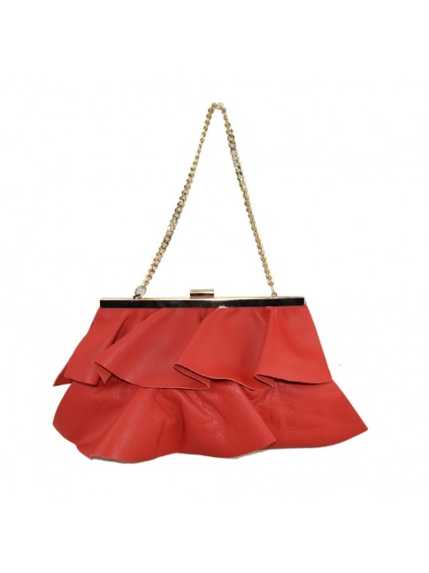 Leather ruffle pochette with chain shoulder strap