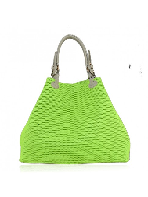 Woman laser fluo leather bag