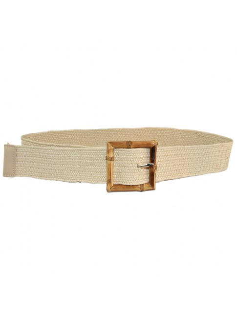 Woman raffia elastic belt