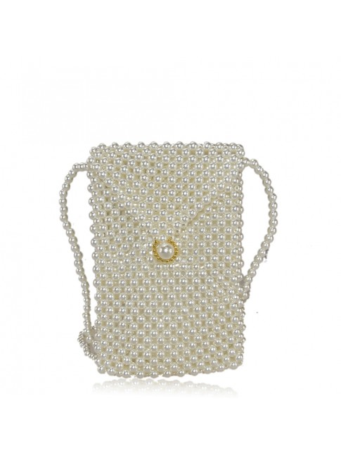 Woman shoulder bag with pearl effetc