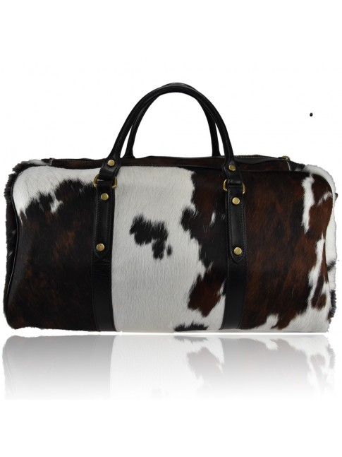Woman leather fur travel bag