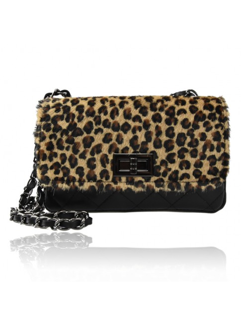 Woman leather & fur shoulder bag