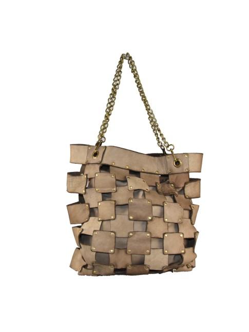 Woman fur leather shoulder bag